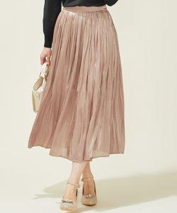 【洗える】オーロラサテンプリーツ スカート