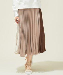 【洗える】カラーブロックプリーツ スカート