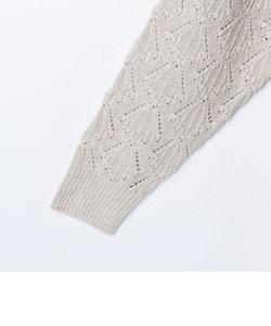 柄編み後身頃ロングプルオーバーニット