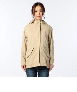 フード付きミドル丈コート