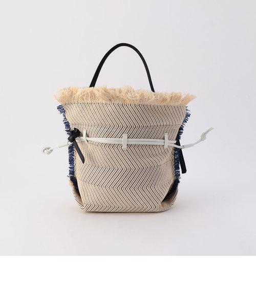 【POTIOR/ポティオール】ヘリンボーンフリンジ巾着バッグ