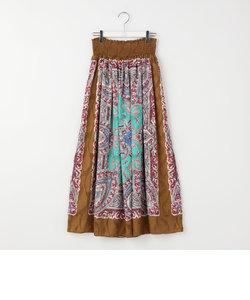 スカーフ柄シャーリングスカート