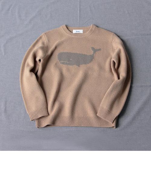 【WEB限定カラーあり】クジラ インターシャ プルオーバーニット