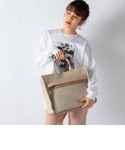 【WEB限定】【LORISTELLA/ ロリステッラ】ラフィア風スクエアトートバッグ