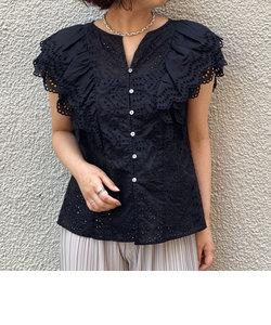 ローン刺繍ボーラ―レースブラウス