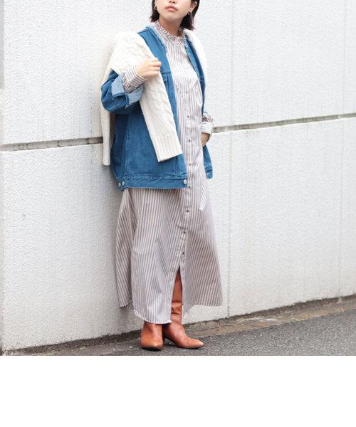 ◇【WEB限定】ストライプフリル衿シャツワンピース