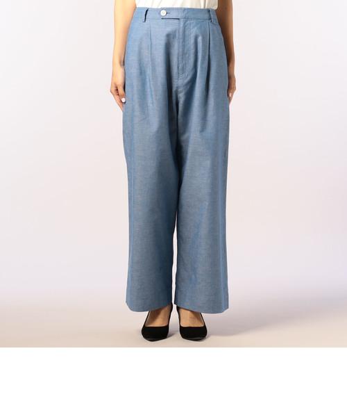 綿/麻washedワイドパンツ