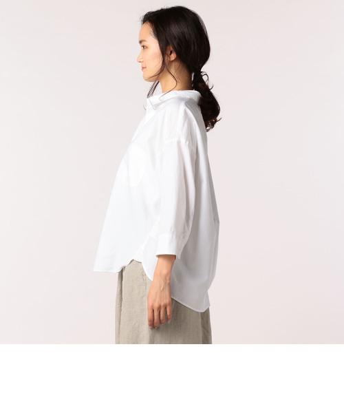 コットン/リネンオックス8分袖シャツ