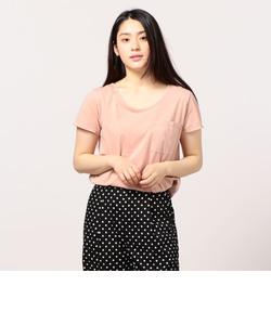 ピグメント染めクルーネックポケットTシャツ