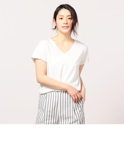 ピグメント染めVネックTシャツ