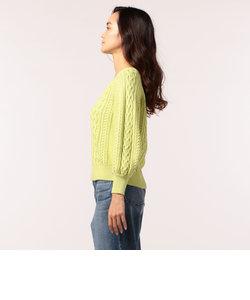 【「きみが心に棲みついた」吉岡里帆さん着用】柄編みパフスリーブVネックプルオーバーニット