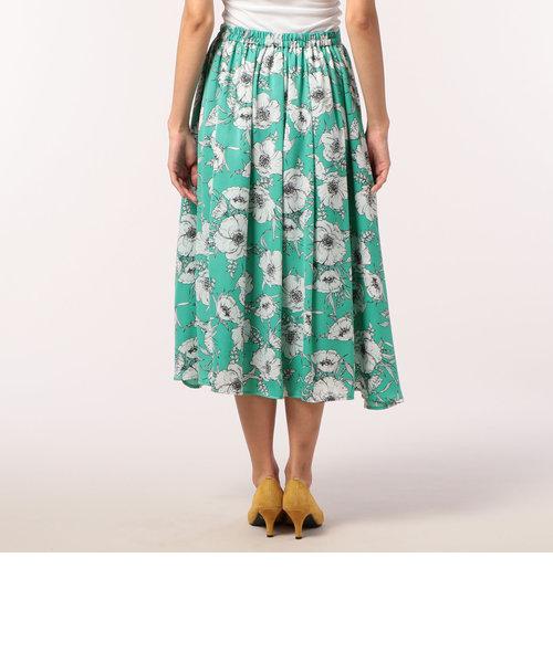 花柄プリントミディ丈スカート