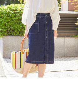 フロントボタンセミタイトスカート