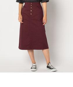 前ボタンミディ丈スカート
