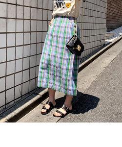 綿麻チェック柄タイトスカート