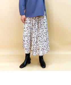 かすれプリントギャザースカート