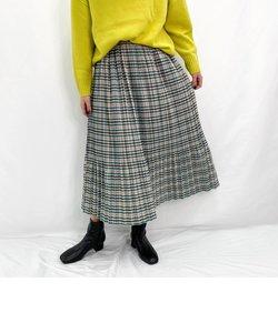 チェックプリーツロングスカート