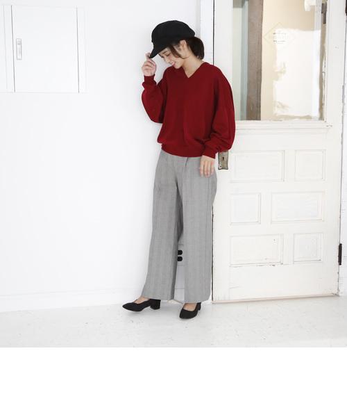 袖ボリュームコクーンVネックニット (ワイン⇒ WEB限定カラー)