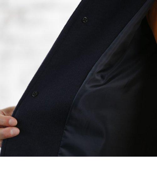 ウールブレンドステンカラーコート(ブラック⇒WEB限定カラー)