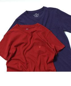 USAコットンクルーネックポケットTシャツ2018SS(ライトピンク、ライトブルー⇒WEB限定カラー)
