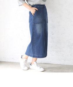【大人気・新色追加】デニムストレッチタイトロングスカート