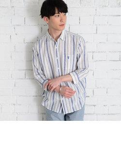 綿麻ストライプ7分袖シャツ