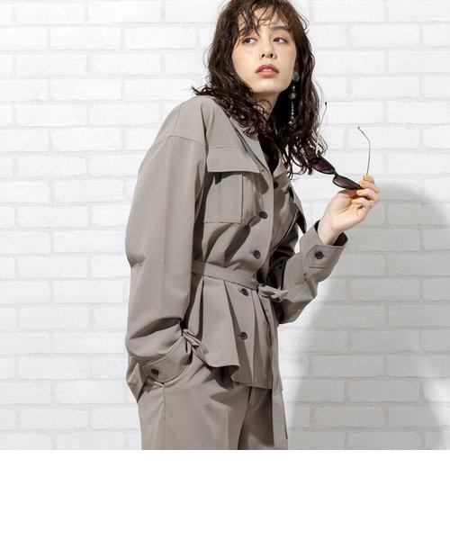 【セットアップ対応・WEB限定】ウエストマークストレッチオーバーシャツジャケット