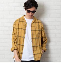 コットンレーヨンチェックオープンカラーシャツ