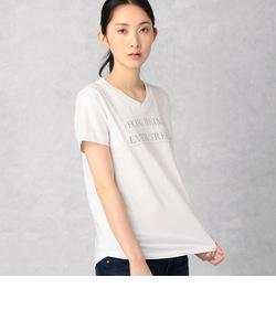 Vネック箔プリントロゴTシャツ