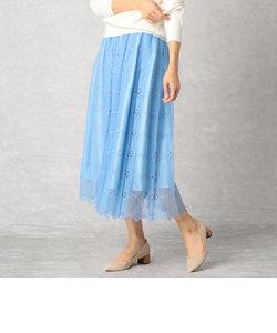 チュールエンブロイダリー ペールカラースカート