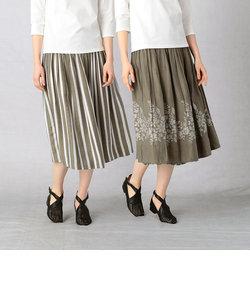 【リバーシブル】ストライプ×花柄スカート