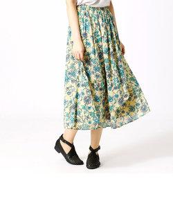 【インド綿】花柄プリント ラップ風スカート