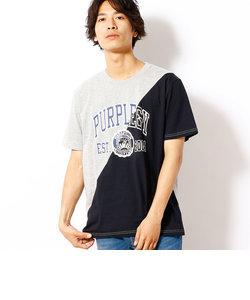 空紡天竺斜め切替プリント半袖Tシャツ