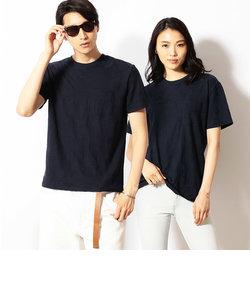 【リンクス編み】ボタニカルリーフ柄 半袖Tシャツ