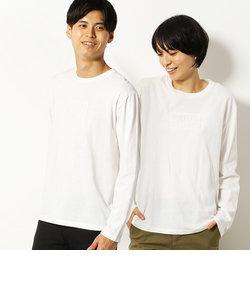 ロゴ エンボス 長袖クルーネック Tシャツ