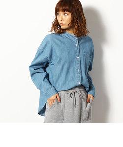 ライトオンスデニム バンドカラー シャツ