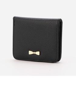 【モノコムサ】リボンが付いたコンパクト2つ折り財布