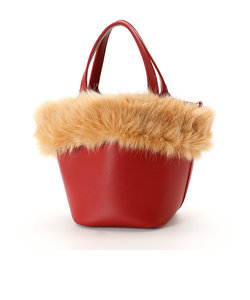 【モノコムサ】ポーチ付 ファー 取り外し可能 トート バッグ