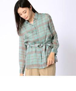 チェック柄ベルト付きシャツ