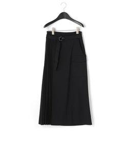 異素材プリーツ ドッキング 巻き風スカート