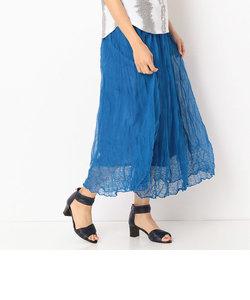 裾レース柄シワ加工プリーツスカート