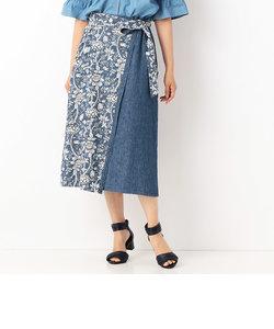 花柄デニム巻きスカート