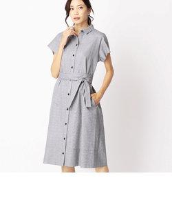 グレンチェックシャツドレス