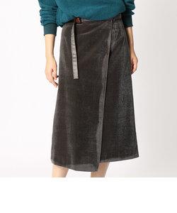 シルクコーデュロイラップ風タイトスカート