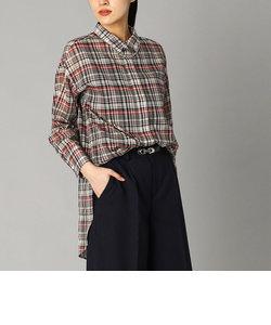 綿麻チェック ロングシャツ