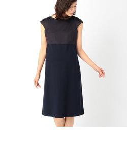 サテン切り替えジャージドレス