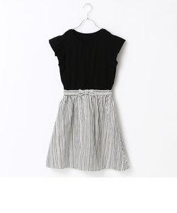 【Jrサイズ】手描き風ストライプドレス