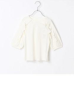 七分袖フリルTシャツ