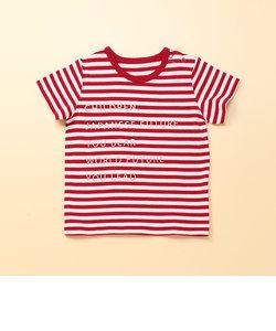 ボーダ-メッセージ半袖Tシャツ