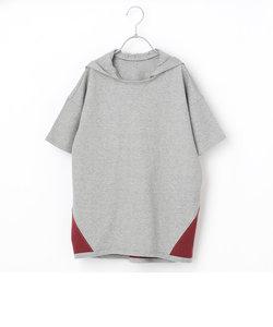 【ジュニアサイズ】フード付半袖ビッグTシャツ